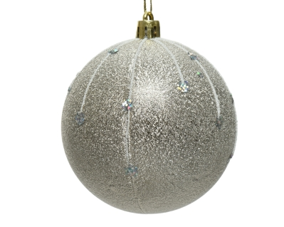 SHATTER PROOF BAUBLE FROSTED WITH GLITTER 8CM