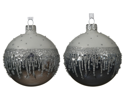 GLASS DECORATIVE BAUBLE WITH FINE BORDER 2 COLOURS 8CM