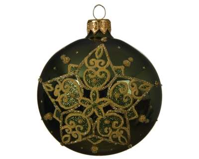 GLASS DECORATIVE BAUBLE STAR DESIGN PINE GREEN 8CM
