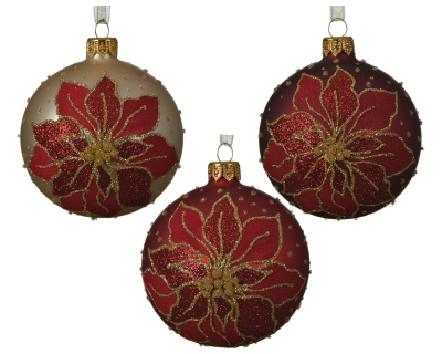 GLASS DECORATIVE BAUBLE WITH POINSETTIA DESIGN 3 ASS 8CM