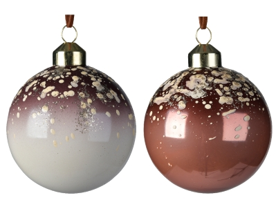 DECORATIVE GLASS BAUBLE WHITE OR BROWN 2 DESIGNS 10CM