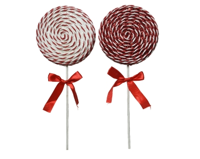 FOAM LOLLY TREE DECORATION RED AND WHITE 2 DESIGNS 36CM