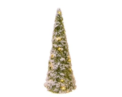 LED TINSEL CONE BATTERY OPERATED GREEN SNOWY 40CM