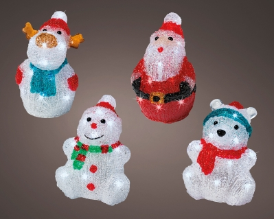 LED FIGURES 4 DESIGNS INDOOR ONLY BATTERY OPERATED