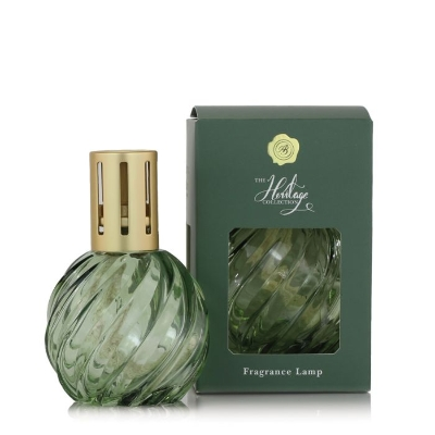 ASHLEIGH AND BURWOOD THE HERITAGE COLLECTION FRAGRANCE LAMP SPIRAL GLASS GREEN
