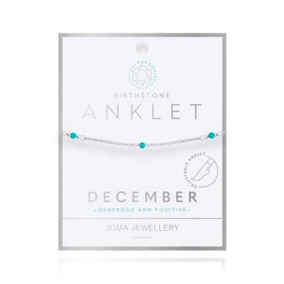 BIRTHSTONE ANKLET DECEMBER TURQUOISE