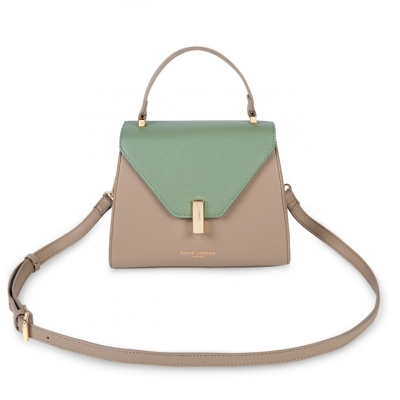CASEY TOP HANDLE BAG SAND AND MINT GREEN