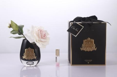 Cote Noire   Tear Drop Tea Rose in Black Glass   Pink Blush