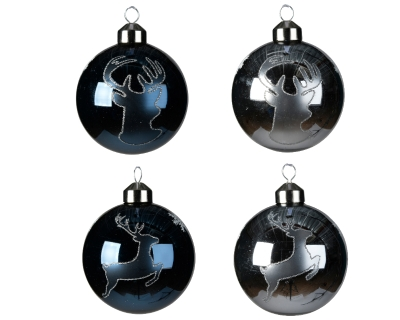 DECORATIVE GLASS BAUBLE BLUE WITH DEER 2 DESIGNS 8CM