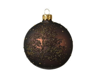 DECORATIVE GLASS BAUBLE BROWN WITH TREE DESIGN 8CM