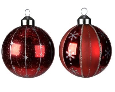 DECORATIVE GLASS BAUBLE CHRISTMAS RED 2 DESIGNS 8CM