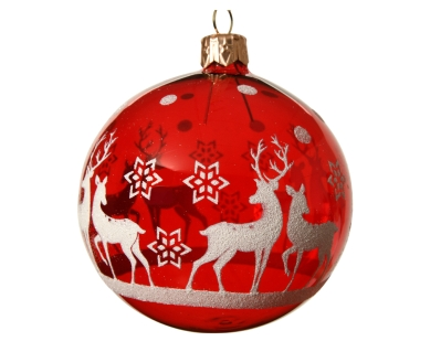 DECORATIVE GLASS BAUBLE CHRISTMAS RED WITH DEER DESIGN 8CM