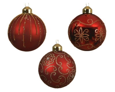 DECORATIVE GLASS BAUBLE FLOWER CURL CHRISTMAS RED 3 DESIGNS 8CM