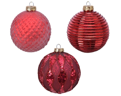 DECORATIVE GLASS BAUBLE RED 3 DESIGNS 10CM