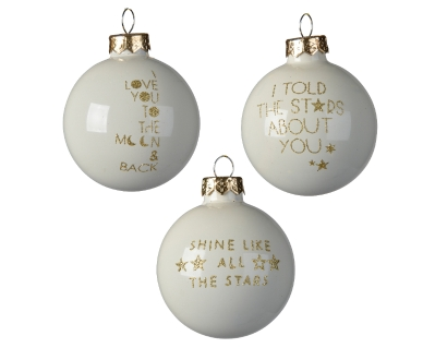DECORATIVE GLASS BAUBLE WHITE WITH GOLD TEXT 3 DESIGNS 6CM