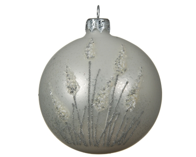 DECORATIVE GLASS BAUBLE WINTER WHITE WITH PAMPAS GRASS DESIGN 8CM