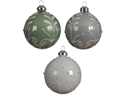 DECORATIVE GLASS BAUBLE WITH BRANCH DESIGN 3 COLOURS 10CM