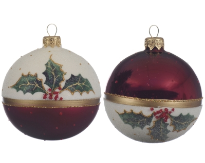 DECORATIVE GLASS BAUBLE WITH HOLLY 2 DESIGNS 8CM