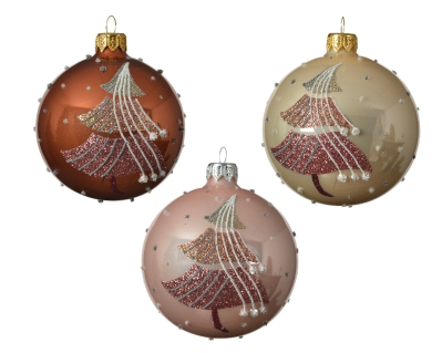 DECORATIVE GLASS BAUBLE WITH SHINY TREE DESIGN 3 COLOURS 8CM