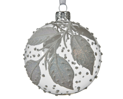 DECORATIVE GLASS BAUBLE WITH WHITE LEAVES TRANSPARENT 8CM