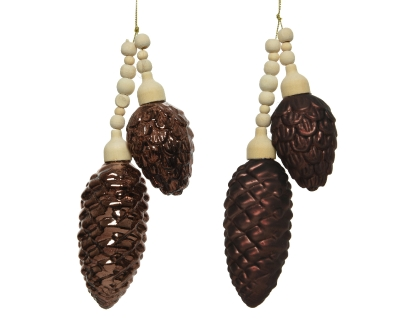 DECORATIVE GLASS PINE CONE BUNDLE DARK BROWN 2 DESIGNS 17CM