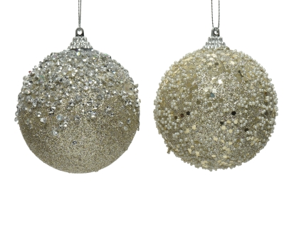 FOAM BAUBLE CHAMPAGNE 2 DESIGNS 10CM