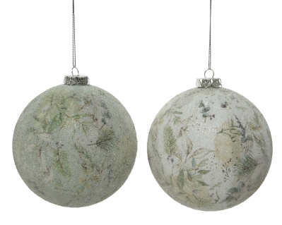 FOAM BAUBLE NATURAL 2 COLOURS 10CM