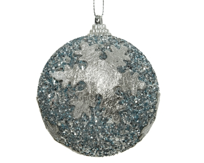 FOAM BAUBLE WITH SNOWFLAKES WINTER SKY 8CM