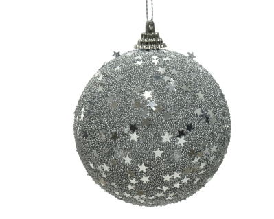 FOAM BAUBLE WITH STARS SILVER 8CM
