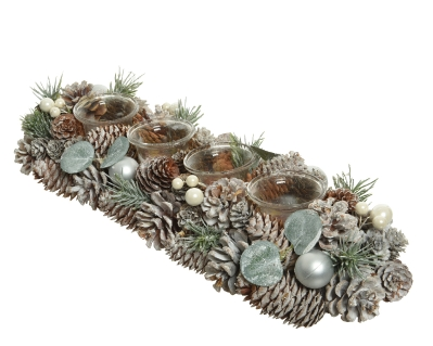 GREEN PINECONE TEALIGHT HOLDER