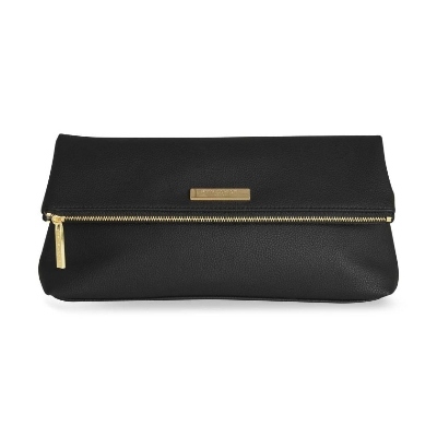 KATIE LOXTON ALISE SOFT PEBBLE FOLD OVER CLUTCH BLACK