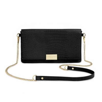 KATIE LOXTON CELINE FAUX CROC FOLD OVER CROSSBODY BLACK
