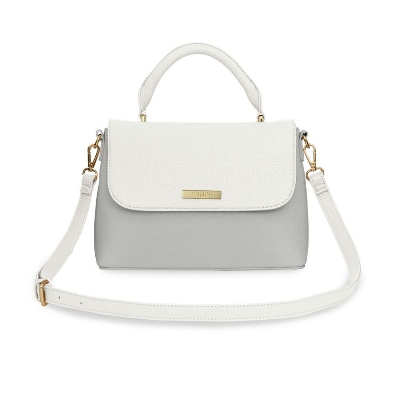 KATIE LOXTON TALIA TWO TONE MESSENGER BAG WHITE AND PALE GREY