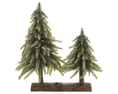 LARGE AND SMALL TREE ON WOOD BASE GREEN