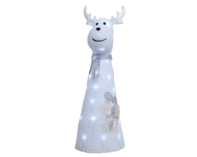 LED ACRYLIC DEER WITH SCARF COOL WHITE OUTDOOR OR INDOOR 51CM