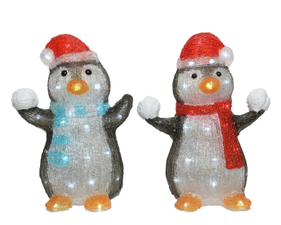 LED ACRYLIC PENGUIN 2 DESIGNS OUTDOOR BATTERY OPERATED