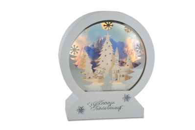 MUSIC CHRISTMAS BOX WITH SNOW CHRISTMAS LANDSCAPE BATTERY OPERATED