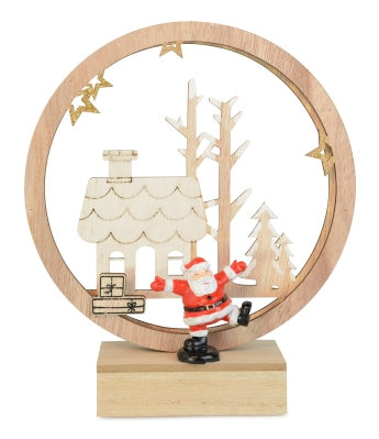 NATURAL WOOD LED RING WITH SANTA DESIGN BATTERY OPERATED 20CM