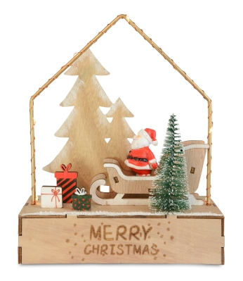 NATURAL WOOD SANTA ON SLEIGH WITH HOUSE LED BATTERY OPERATED