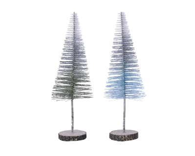PLASTIC GLITTER TREE WITH WOODEN STAND 2 COLOURS 20CM