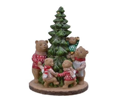 POLY LED TREE WITH BEARS BATTERY OPERATED