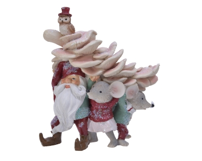 POLY SANTA AND MICE CARRYING TREE 17.5CM