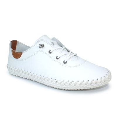 ST IVES WHITE LEATHER PLIMSOLE