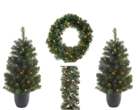 IMPERIAL OUTDOOR 4 PIECE SET TREES WREATH AND GARLAND