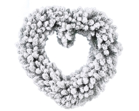 SNOWY HEART ARTIFICIAL WREATH 50CM