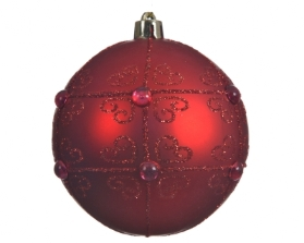 SHATTER PROOF BAUBLE WITH PEARLS RED 8CM