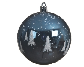 SHATTER PROOF BAUBLE NIGHT BLUE 8CM