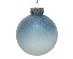 SHATTER PROOF ICE FINISHED BAUBLE 2 ASS NIGHT BLUE 8CM