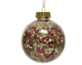 SHATTER PROOF BAUBLE WITH SEQUINS GOLD 8CM