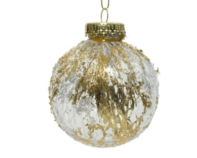 SHATTER PROOF BAUBLE LACE WITH GOLD 8CM